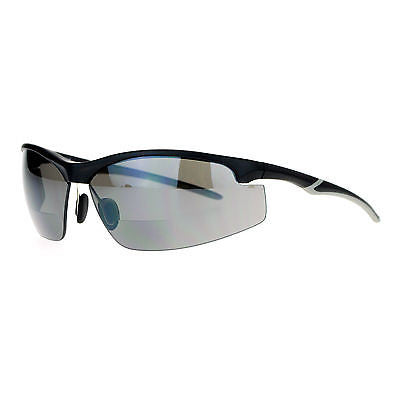 SA106 Mens All Black Bifocal Lens Sport Baseball Half Rim Sunglasses
