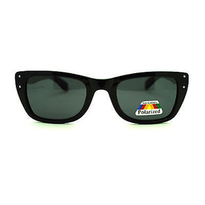 Unisex Polarized Retro Narrow Rectangular Horn Rim Plastic Frame Sunglasses
