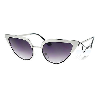 Womens Gothic Retro Full Metal Half Rim 2 Tone Cat Eye Sunglasses
