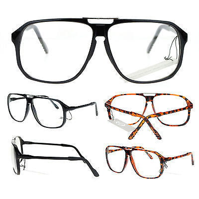 Mens Retro Robotic Nerdy Geek Sport Keyhole Oversize Optical Eye Glasses