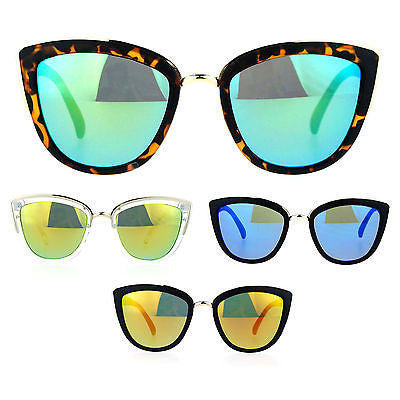 SA106 Womens Color Mirror Reflective Lens Oversize Cat Eye Sunglasses