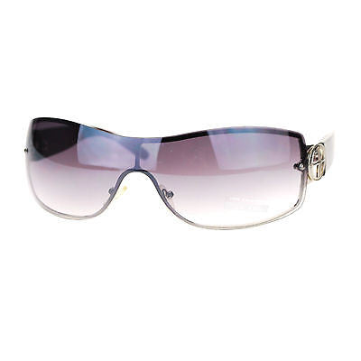 Womens Rimless Designer Fashion Shield Gradient Lens Diva Oversize Sunglasses