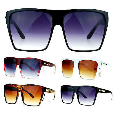 Womens Extra Oversized Flat Top Mobster Rectangular Celebrity Diva Sunglasses