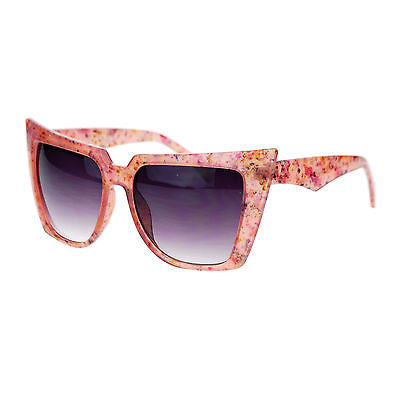 Womens Wall Paper Ditsy Flower Print Retro Oversize Cat Eye Sunglasses