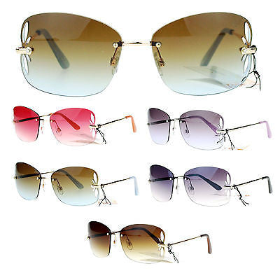 SA106 Womens Rimless Butterfly Vent Trim Rectangular Fashion Sunglasses