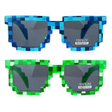 SA106 Color Pixelated 8 Bit Retro Video Game Horn Rim Pixel Sunglasses