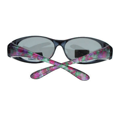 Womens Floral Print Antiglare Polarized No Glare 60mm Fitover Sunglasses