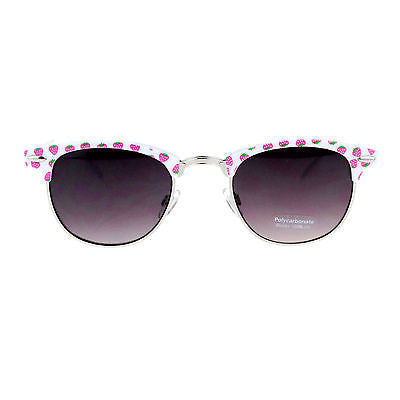 Womens Cute Fruit Print Half Horn Rim Retro Hipster Pattern Sunglasses