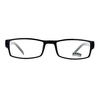 SA106 Black Narrow Rectangular Spring Hinge Plastic Clear Lens Eye Glasses