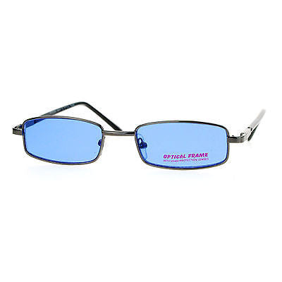 SA106 Snug Fit Small Mens Rectangular Metal Rim Classic Color Lens Sunglasses