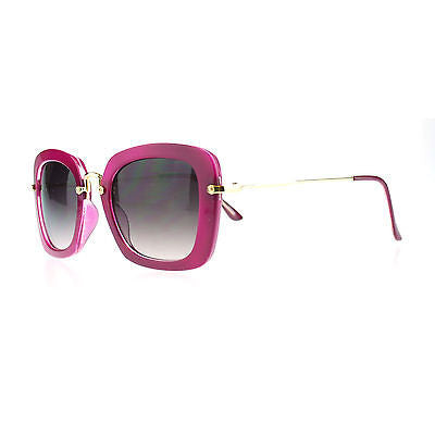 Womens New Rectangular Plastic Runway Fashion Metal Hinge Designer Sunglasses
