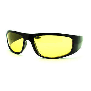 Mens Night Vision Yellow Lens Classic Thick Biker Warp Around Plastic Sunglasses