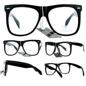 SA106 Mens Black Hipster Oversize Large Horn Rim Nerdy Eye Glasses