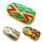 Neon Womens Ethnic Tribal Print Canvas Metal Clam Shell Sunglasses Carrying Case
