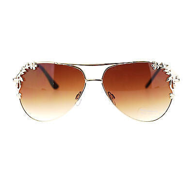 Womens Metal Flower Foliage Trim Tear Drop Designer Fashion Aviator Sunglasses