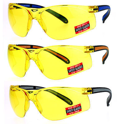 SA106 Mens Yellow HD Lens ANSI Z87.1+ Protection Half Rim Warp Safety Glasses