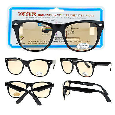 Black Retro Horn Rim UV Vision Protection Anti Reflective Computer Glasses