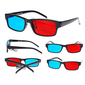 Unisex Cyan and Red Steroscope Anaglyphic 3D Lens Narrow Rectangular Sunglasses