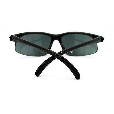 All Black Mens Classic Half Rim Sport Warp Sunglasses with Bifocal Reading Lens