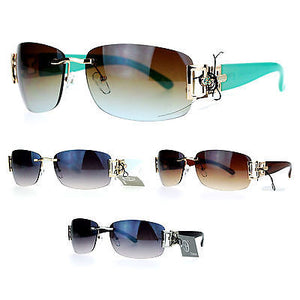 SA106 Womens Gradient Luxury Rimless Art Deco Metal Chain Designer Sunglasses