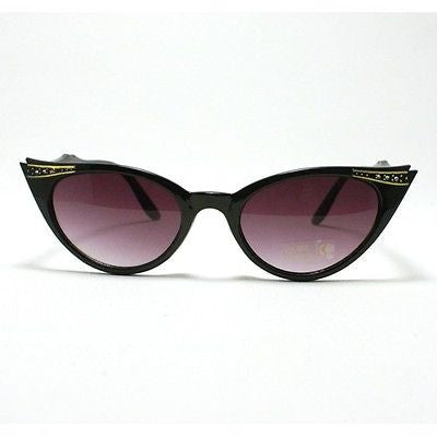 New Classic Womens Rhinestone Studded Small Oval Retro Horn Cat Eye Sunglasses