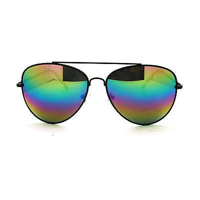 Oil Slick Rusta Mirror Lens Police Motorcycle Biker Cop Aviator Sunglasses