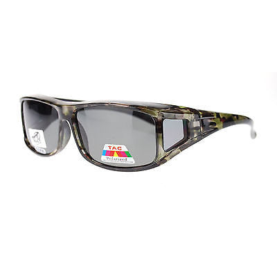 Mens Camouflage Rectangular Fit Over Polarized Anti Glare Sunglasses