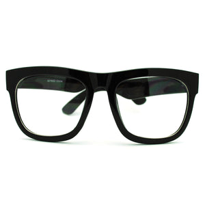 Black Nerdy Thick Heavy Plastic Horn Rim Eye Glasses