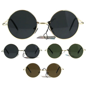 Flat Panel Classic Round Circle Lens Hippie 70s Sunglasses