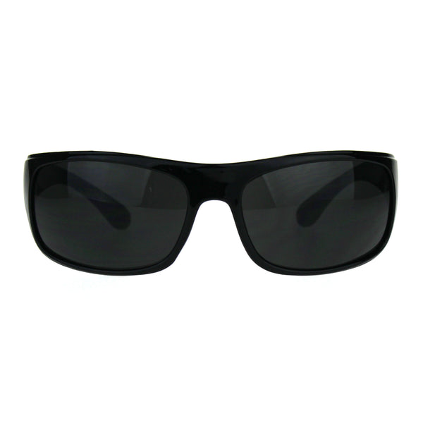 Mens Classic Rectangular Warp Around Minimal Biker Plastic Sunglasses