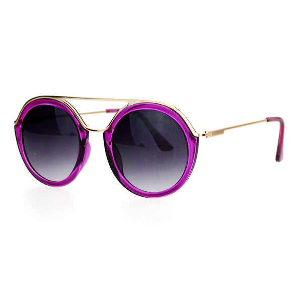 SA106 Womens Metal Brow Bridge Round Unique Aviator Sunglasses