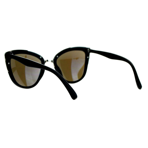 SA106 Color Mirror Lens Diva Oversize Metal Brow Trim Cat Eye Sunglasses