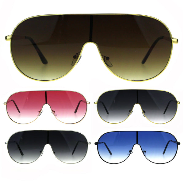 Flat Top Gradient Lens Metal Shield Racer Oversize Sunglasses