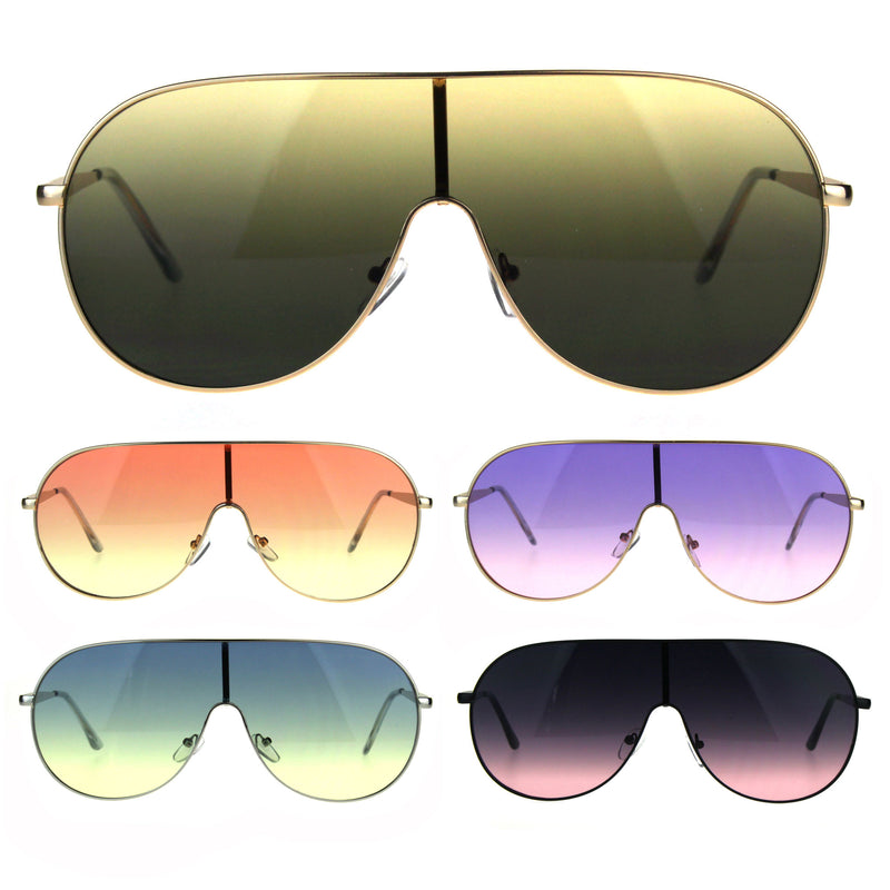 Oceanic Color Gradient Metal Shield Racer Oversize Sunglasses