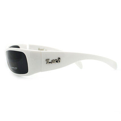 Locs White Narrow Sporty Warp Around Skater Shades with Limo Lens