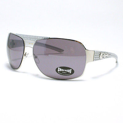 MOTOR RACING Sunglasses Choppers Navigator Square Aviator Metal SILVER