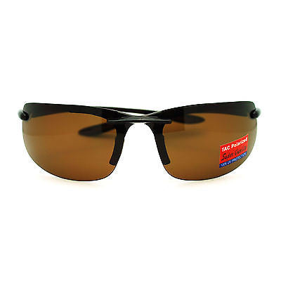 Polarized Rimless Warp Light Weight Mens Comfort Fit Sport Sunglasses