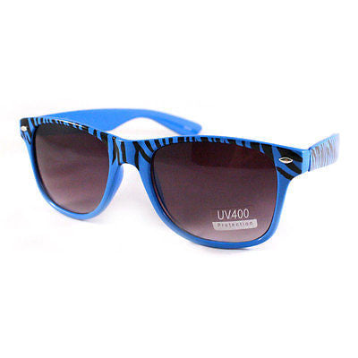 Thick Horn Rimmed Sunglasses 80's Retro Shades Zebra BLUE New
