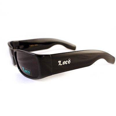 LOCS Sunglasses Mens Thick Frame Biker Style Dark Black New