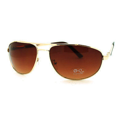 Men's Metal Rim Rectangular Sniper Sporty Light Weight Sunglasses - Gold
