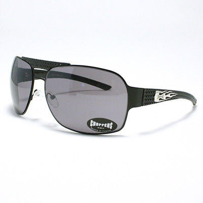 MOTOR RACING Sunglasses Choppers Navigator Square Aviator Metal BLACK