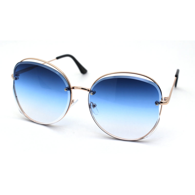 Womens Oversize Exposed Lens Metal Rim 90s Butterfly Sunglasses