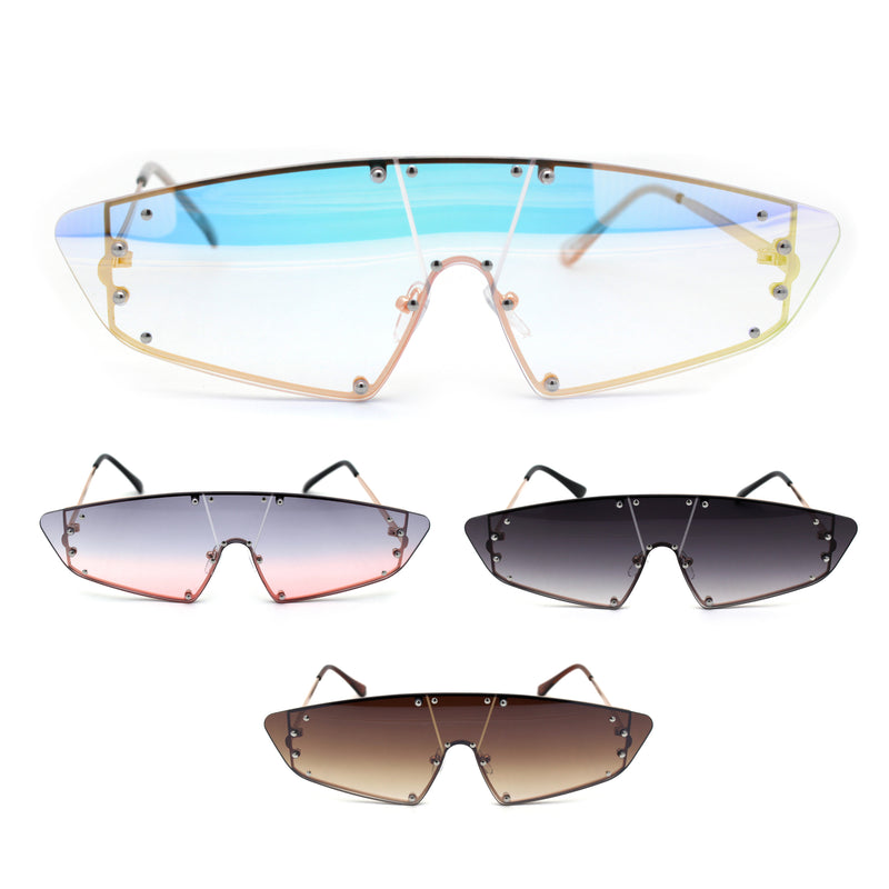 Futuristic Robotic Narrow Shield Retro Trendy Sunglasses