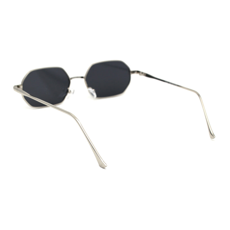 Hexagon Metal Rim Pimp Style Retro Vintage Style Narrow Sunglasses