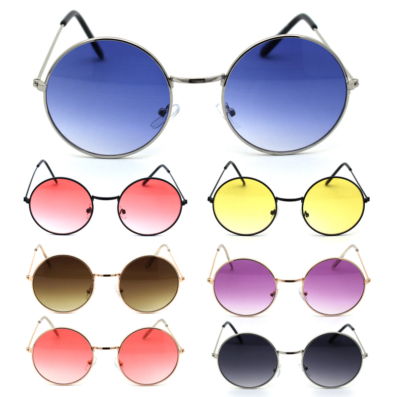 Dopy Hippie Color Lens Round Circle Lens Metal Rim Sunglasses
