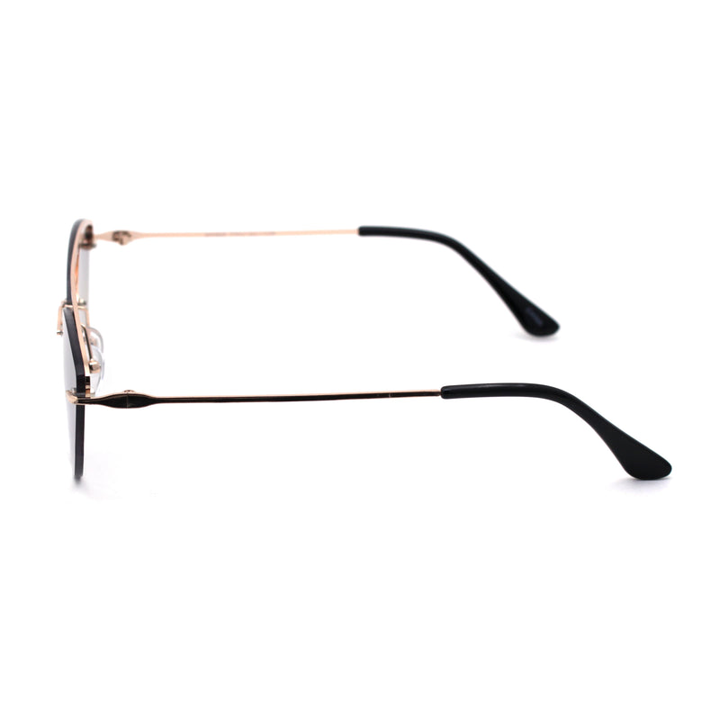 Womens Rimless Double Bridge Cat Eye Designer Sunglasses