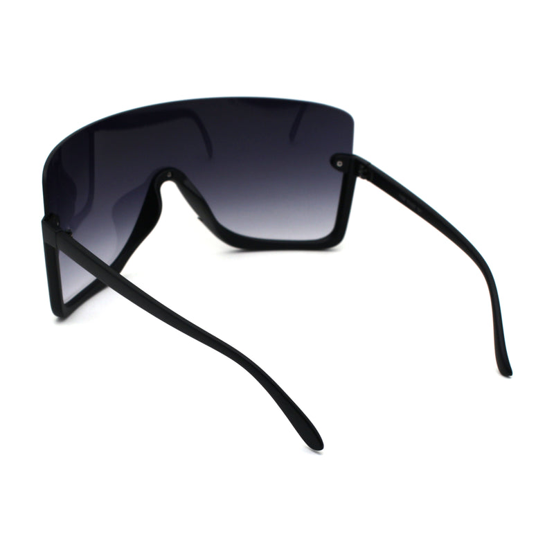 Extra Oversize Flat Top Upside Down Rectangle Shield Mask Sunglasses