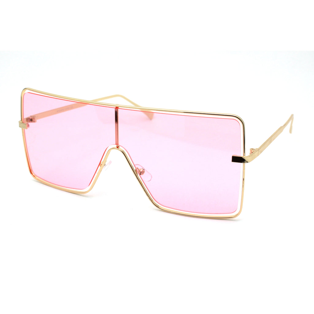 Unique Luxury Exposed Lens Off Set Shield Metal Rim Sunglasses