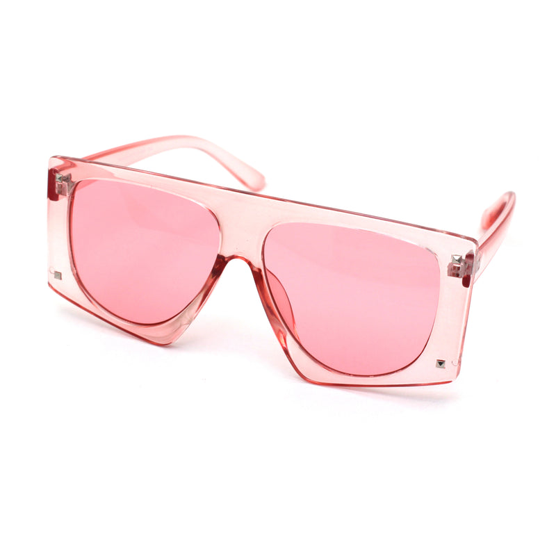 Womens Flat Top Mobster Mafia Plastic Squared Sunglasses