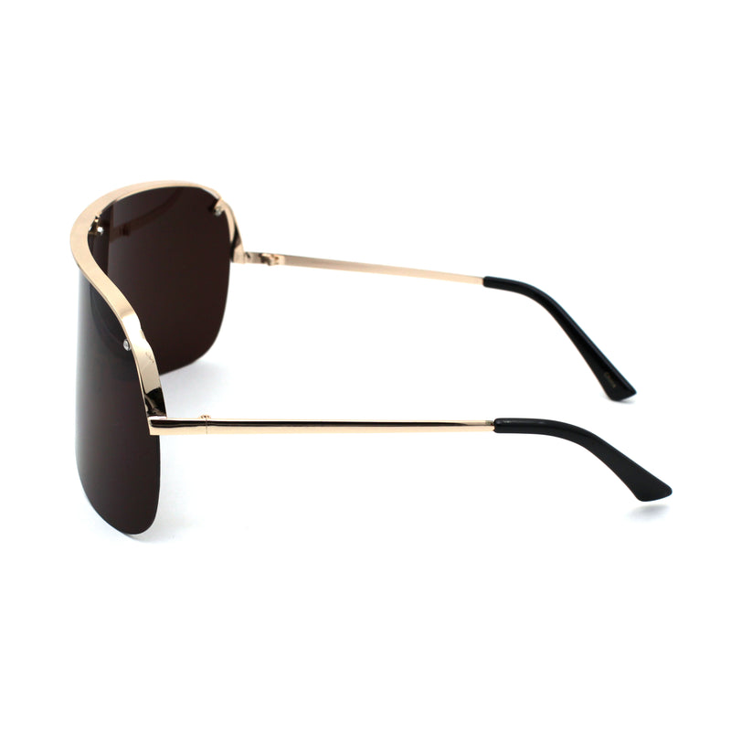 Extra Oversize Flat Top Metal Half Rim Shield Mask Style Sunglasses